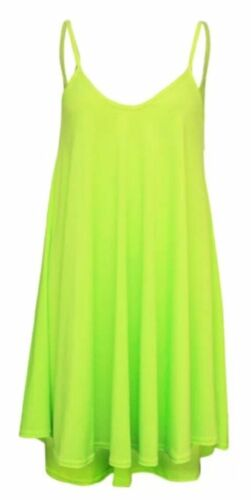 Women Long Cami Plain /& Neon Colours Strappy Swing Dress Vest Flared Dress