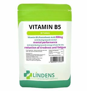Vitamin-B-5-500mg-1-a-day-90-tablets-Pantothenic-Acid-B5-Brain-Energy-Metabolism