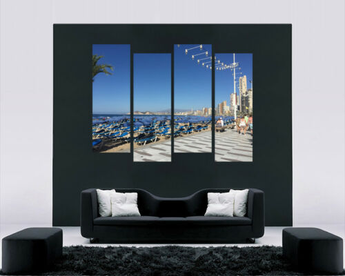 """BENIDORM DURING DAY CANVAS WALL ART PICTURES SPLIT MULTI 4 PANEL 43/"""" X 25/"""""""