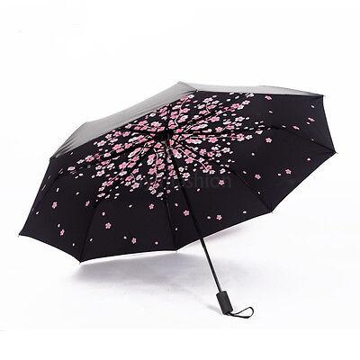 Fashion Sakura Windproof Anti UV Sun/Rain Princess Folding Umbrella Girls Gift