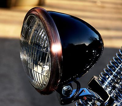 Black Powder Coated Bullet Headlight with Antique Brass finished Ring Bobber