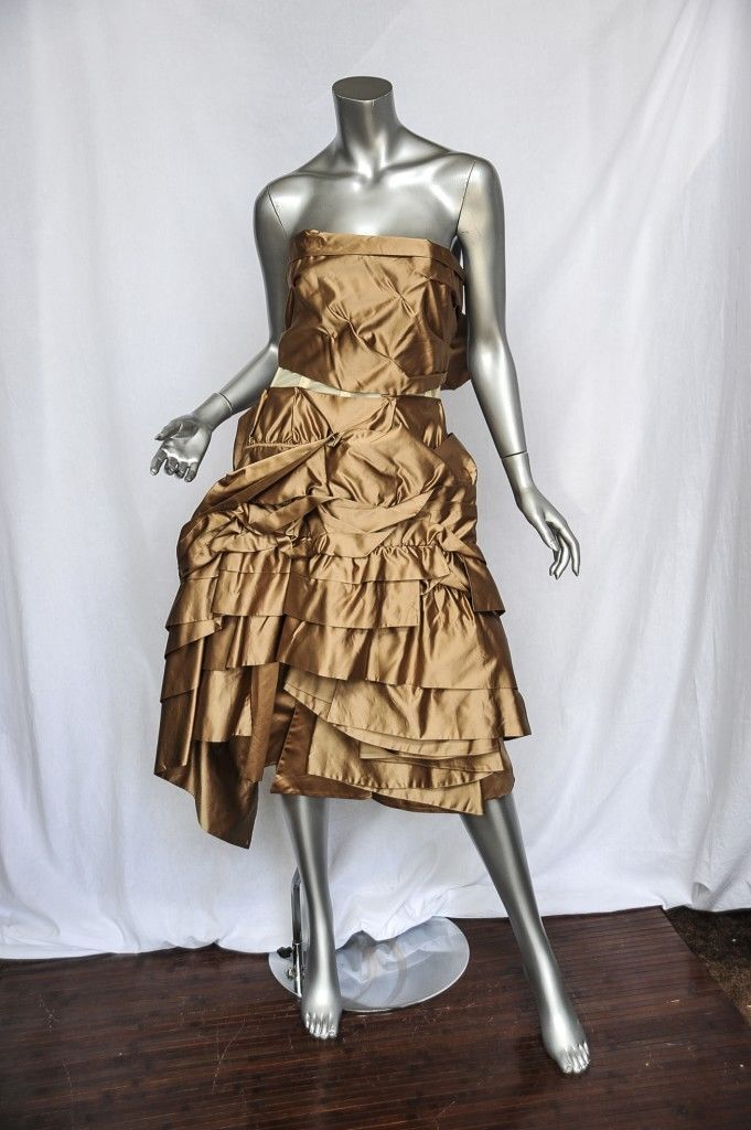 PRADA Soft gold SILK SATIN Tiered Ruffled STRAPLESS Evening Dress M 6 42