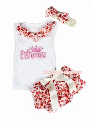 Princess White Pettitop Shirt Beige Heart Newborn Baby Girl Bloomer Set NB-12M