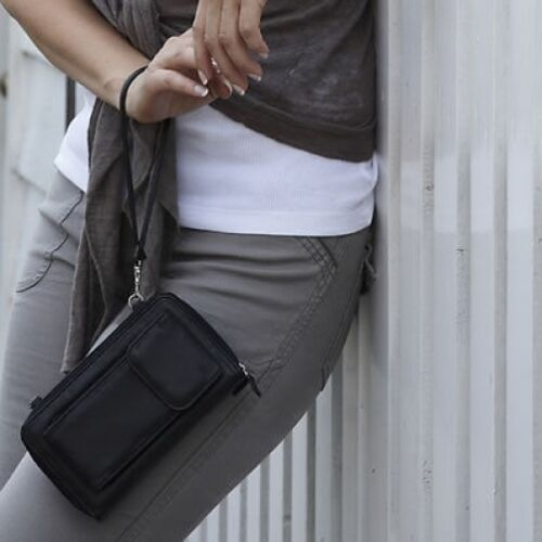 Leather Bag Multi Use Purse Handbag Mobile Phone Holder Passport Travel Holiday