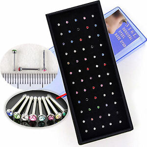 60pcs-Wholesale-Lots-Body-Jewelry-316L-Surgical-Steel-Rhinestone-Nose-Studs