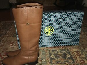 334803cdac7 Tory Burch Jolie Riding Boots WIDE Calf Pebbled Leather Brown Size ...