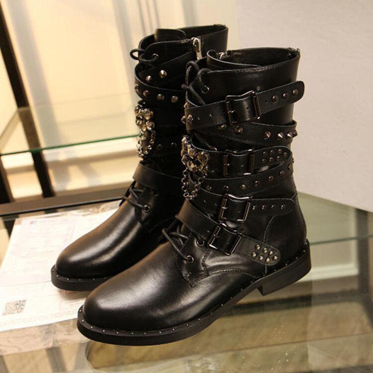Womens Punk Fashion Buckle Strap Lace UP Studded Metal Chains Ankle Boots Shoes