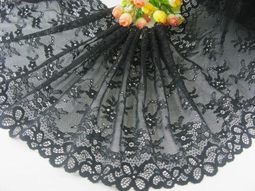 """environ 0.91 m 1 Yd délicat noir élastique//Spandex Doux Fleur Floral Bordure en Dentelle 0427 9.5/"""""""