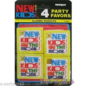NEW-KIDS-ON-THE-BLOCK-SLIDING-PUZZLES-4-Vintage-Birthday-Party-Supplies-1990