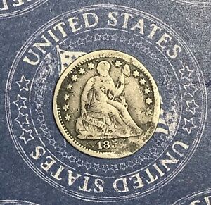 1857-Seated-Silver-Half-Dime-Collector-Coin-For-Collection-Free-Shipping