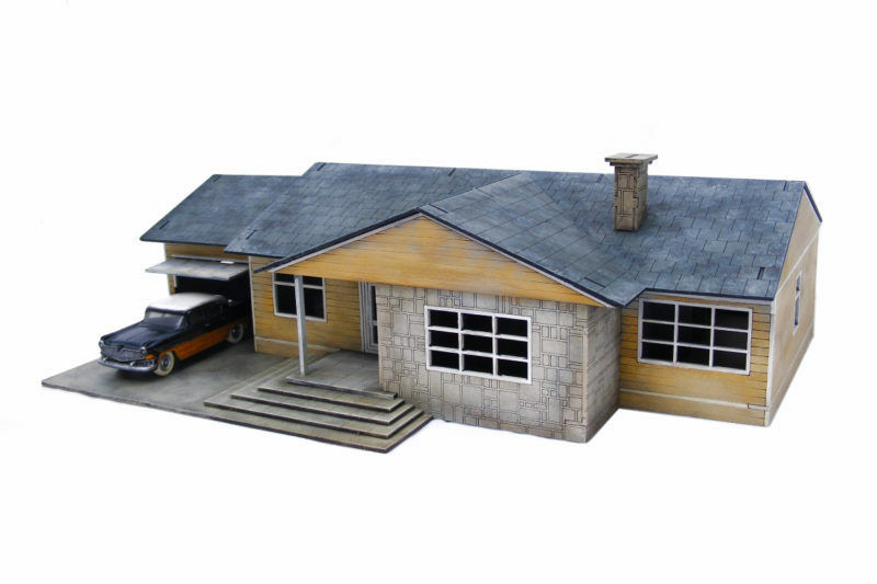 Retro Americana Residential Ranch Style – Garage LHS 28mm Laser Cut MDF Build...