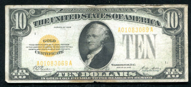 FR. 2400 1928 $10 TEN DOLLARS GOLD CERTIFICATE CURRENCY NOTE