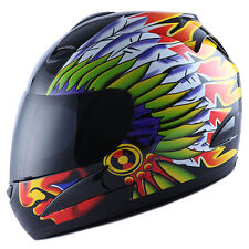 NEW WOW DOT Motorcycle Full Face Helmet Street Bike Indian Chief Black S M L XL