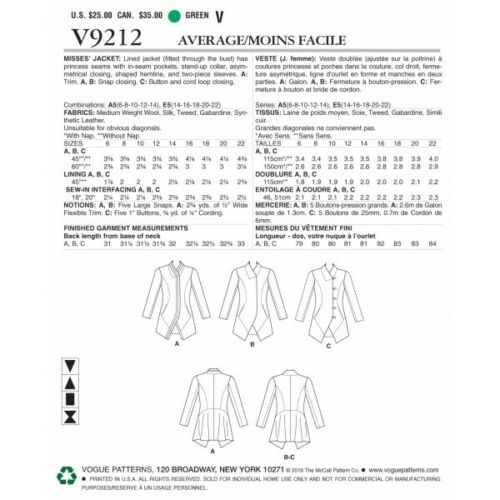 VOGUE Sewing Pattern V9212 WOMEN/'S MISSES/'S cuciti /& Con colletto Giacca