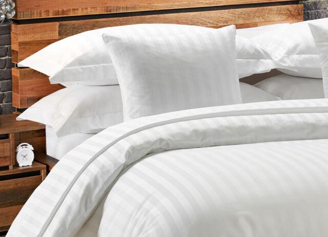 100%LUXURY HOTEL QUALITY  EGYPTIAN COTTON SATIN STRIPE DUVET COVER SET WHITE