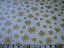 3 Yards Quilt Cotton Fabric - Windham Holiday Magic Gilded Golden Snowflakes