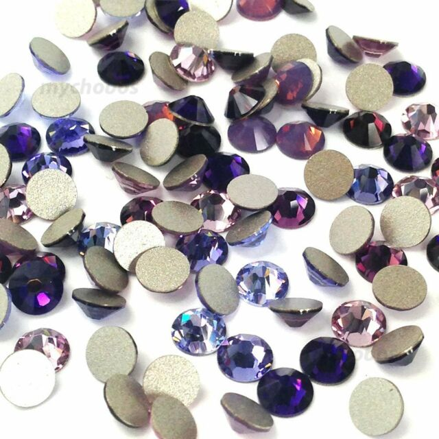 144 Swarovski 2058/2088 crystal flatbacks rhinestones PURPLE Colors Mix