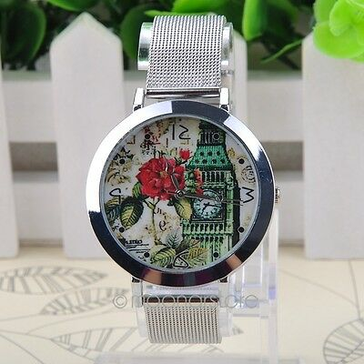 Femmes Floral Simple Pattern Round Case Mesh Steel Band Quartz Watch Montres NEW