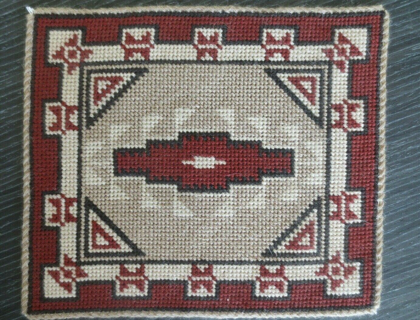 Miniature dollhouse handcrafted needlepoint south western area rug  1 12