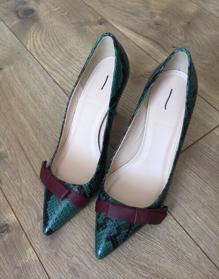 JCrew  288 288 288 Colette Bow Pump Snakeskin Printed Leather 5 Deep Jade F7989 1c5e78