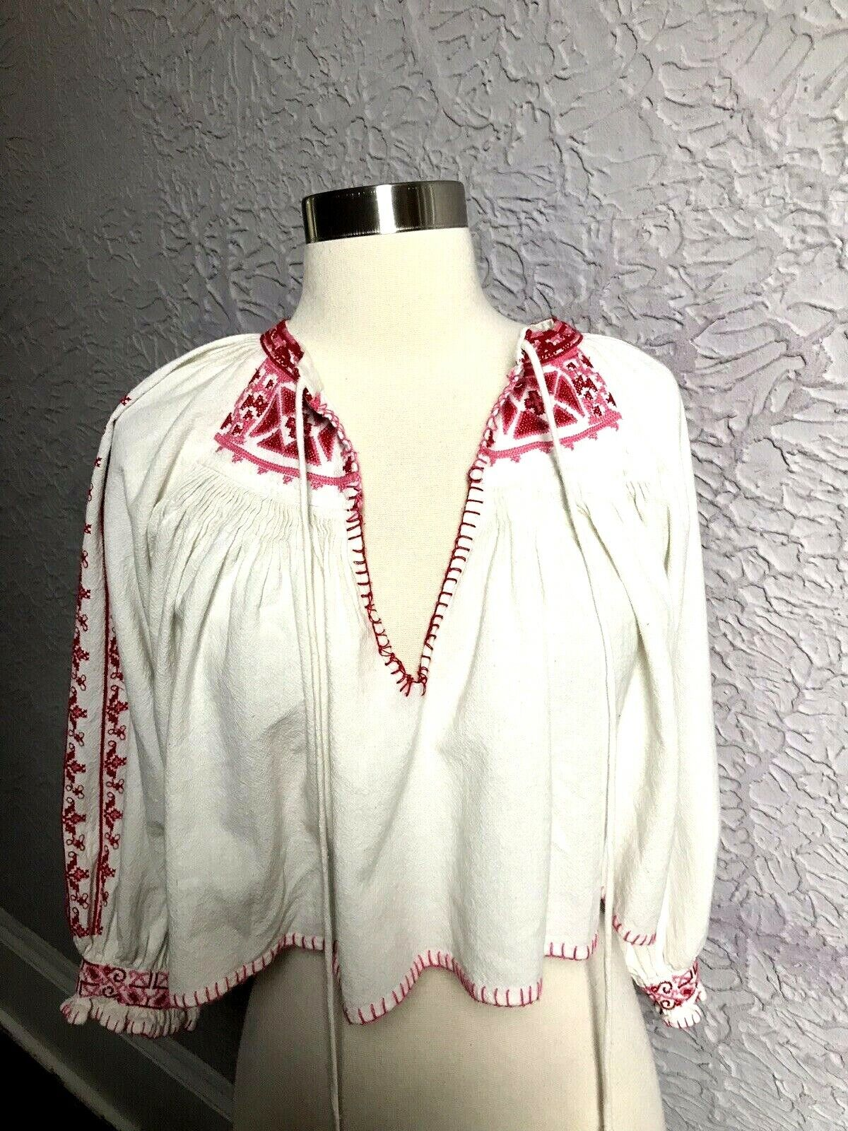 FREE PEOPLE Vintage style embroiderot hippie boho peasant blouse xs