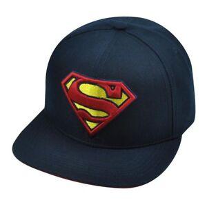 Superman Hat Cap Adjustable One Size Navy Hats Caps Flat Bill ... e8bcd64ecfd