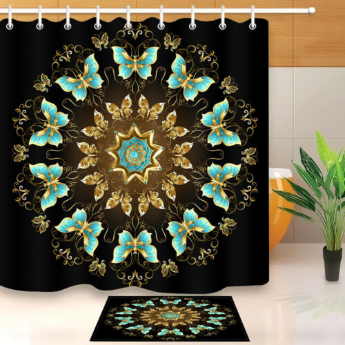 Mandala Floral Waterproof Polyester Bathroom Shower Curtain With Free 12 Hooks