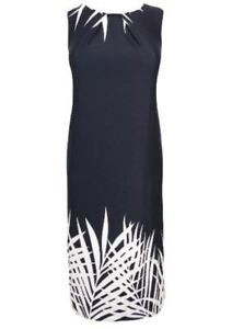 NEW EVANS BLACK WHITE PALM BORDER SHIFT MIDI DRESS IN SIZES 14 b261c16c9