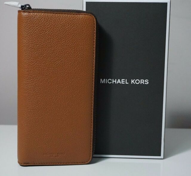 d721c0698f0f Michael Kors Russel Tech Zip Around Leather Men's Wallet in Luggage ...