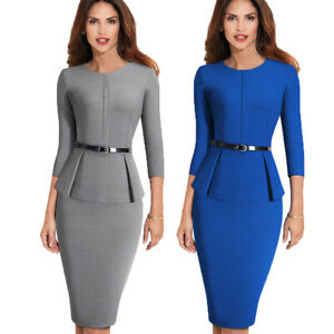 Women-Elegant-Work-Business-Office-Formal-Belt-Party-Bodycon-Pencil-Sheath-Dress