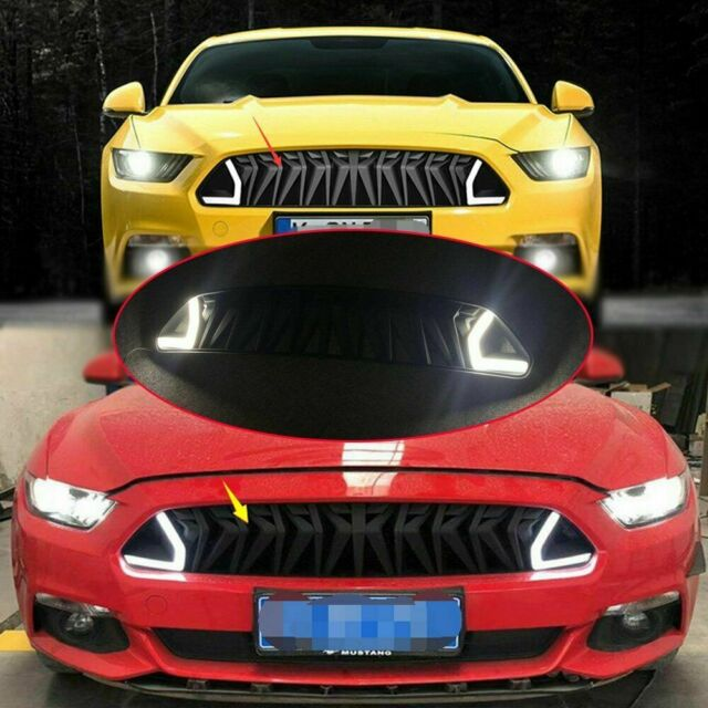 Front Hood Upper Grille White DRL LED Amber Turn Signal For Ford Mustang 15-2017