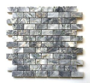 Gray Blue 1x2 Polished Marble Mosaic Tile Wall Backsplash Floor