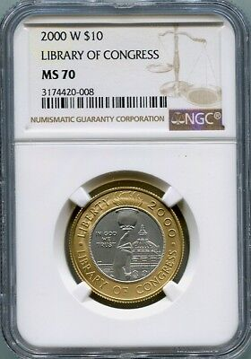 2000 P Modern Commemorative $1 MS70 NGC Congressional Library Silver Dollar Us Coin 90/%