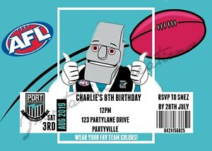 DIY Print Custom AFL ADELAIDE CROWS  FOOTBALL Birthday Party Invitations