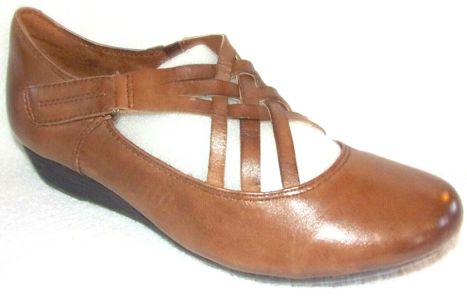 New Rockport Cobb Hill Judson Cross Strap Brown Leather Wedge Shoes 7 M
