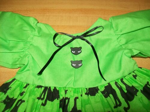 """GREEN BLACK CAT CATS BUTTONS HALLOWEEN DRESS 2 for 16-17/"""" CPK Cabbage Patch"""