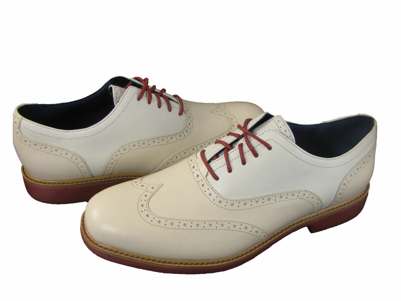 Cole Haan Mens Great Jones Wing Tip White Business Casual Oxford Shoes