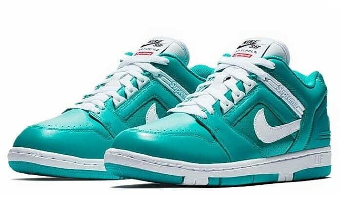 Supreme x Nike SB Air Force 2 Low 'Teal' New Emerald White Size 11.5 NWT