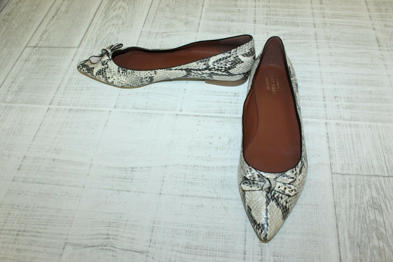 Cole Haan Size Alice Snake Print Skimmer Shoes, Donna - Size Haan 8.5 B, Brown/Cream 6e6a2d