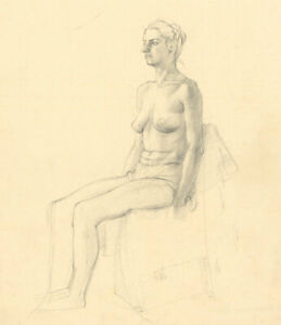 Peter Collins ARCA - c.1970s Graphite Drawing, Seated Female Nude