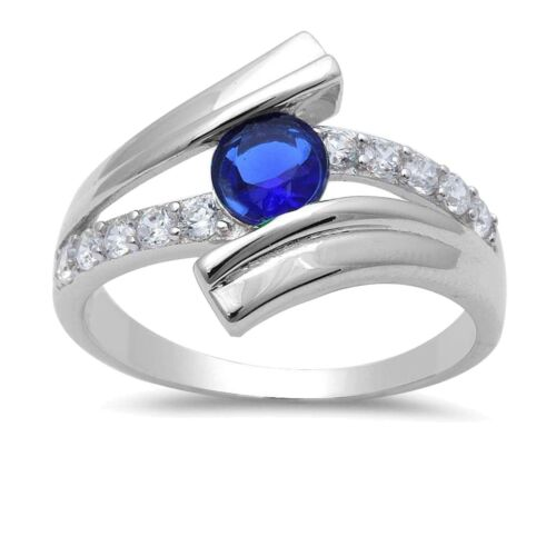 Blue Sapphire Brilliant Simulated Diamond Sterling Silver Engagement Add on Ring