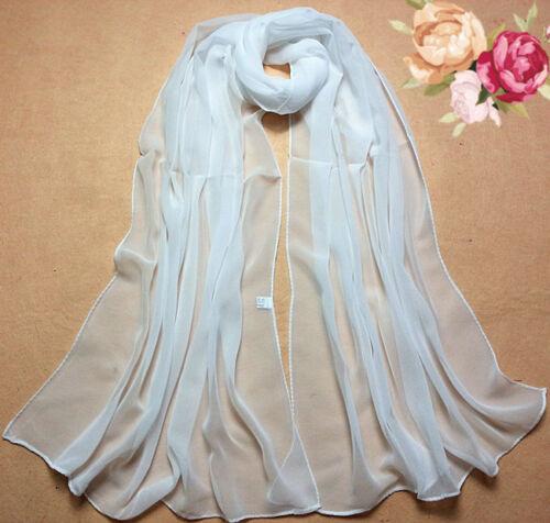 2019 Summer Beach Style 100/% Silk Pure White Soft Thin Oblong Scarf Shawl Soft
