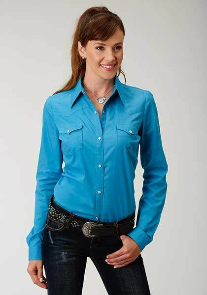 Roper Woherren X-LARGE Turquoise Blau Snap Up Long Sleeve Western Show Shirt