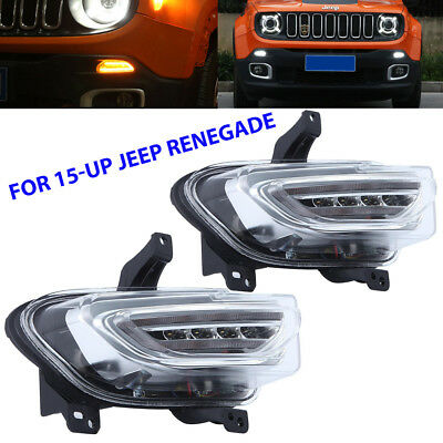 Daytime Running Switchback LED DRL Turn Signal Lights For Jeep Renegade 15-18