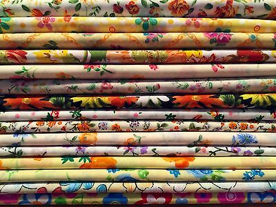 10 Fat Quarters Bundle WHITES BRIGHTS Polycotton Fabric Offcuts Scraps Remnants