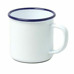 Falcon Housewares Traditional Retro Classic Enamel Steel Mug - White & Blue Trim