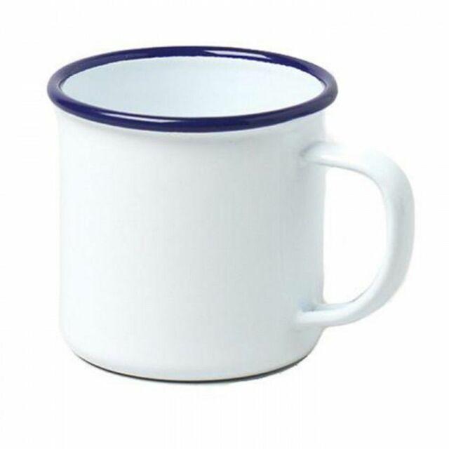 Falcon Housewares Traditional Retro Classic Enamel Steel Mug - White & Blue Trim