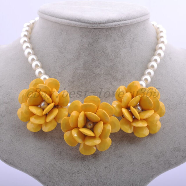 New Hot! Golden Chain Resin Beads Rose Flower Rhinestone Bib Statement Necklace