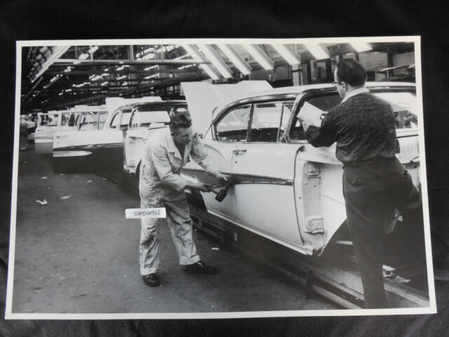 """1958 Ford  assembly attaching trim to body 12X18"""" Black & White Picture"""