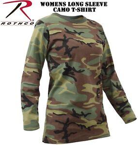 c9a9277a Camo Women's Long Sleeve T-Shirt Ladies Long Length Long Sleeve Tee ...